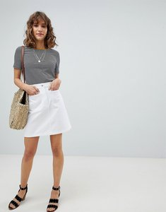 Read more about Warehouse patch pocket denim skirt - white