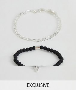 Read more about Chained able black beaded bracelet with silver chain in 2 pack exclusive to asos