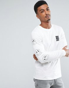 Read more about Jack jones originals long sleeve t-shirt with graphic and arm print - cloud dancer