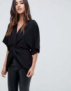 Read more about Asos design knot front top with kimono sleeve - black