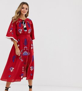 Read more about Violet skye allover embroidered midaxi dress with tassel trim in red multi