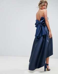 Read more about Chi chi london bandeau midi dress with exaggerated bow back - navy
