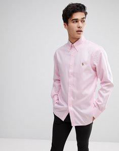 Read more about Polo ralph lauren smart button down collar shirt with multi polo player logo in pink - pink