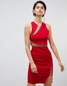 Read more about Forever unique bodycon dress with cut outs - red