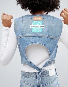 Read more about Weekday limited collection denim vest with back buckle detail - washed blue
