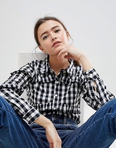 Read more about Glamorous gingham frill shirt - black white gingham