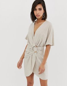 Read more about Asos design mini dress in slubby cotton with ring detail