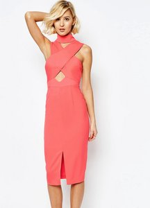 Read more about Lavish alice high neck cut-out detail centre split midi dress - georgia peach