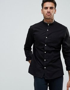 Read more about Asos stretch slim denim shirt with grandad collar in black - black
