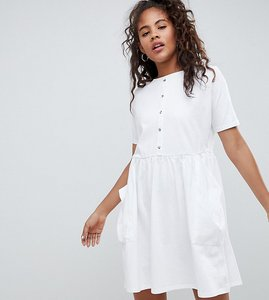 Read more about Asos design tall mini smock dress with pockets and button front - white