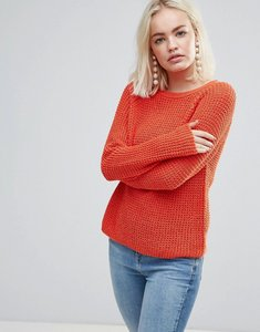 Read more about Soaked in luxury open knit jumper - spicy orange