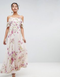 Read more about Asos floral print maxi dress with ruffle cold shoulder - multi