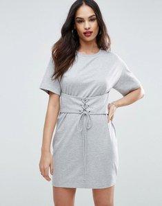 Read more about Asos corset detail t-shirt dress - grey marl