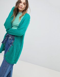 Read more about Asos cardigan in fluffy open knit - turquoise