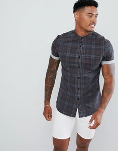 Read more about Asos design skinny denim check shirt in grey with grandad collar - grey