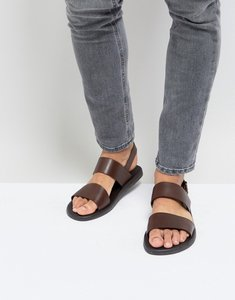 Read more about Silver street double strap sandals in brown leather - brown