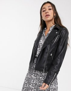 Read more about Only leather look biker jacket - black