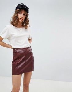 Read more about Free people vegan leather retro bodycon mini skirt - purple