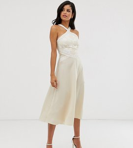 Read more about Little mistress tall embroidered cross neck midi skater dress in cream