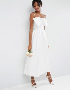 Read more about Asos bridal jumpsuit in bonded satin with bow detail - off white