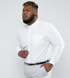 Read more about Asos plus regular fit oxford shirt in white - white