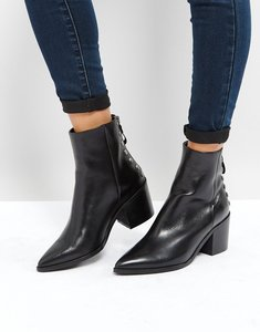 Read more about Carvela slight zip up back leather heeled ankle boots - black