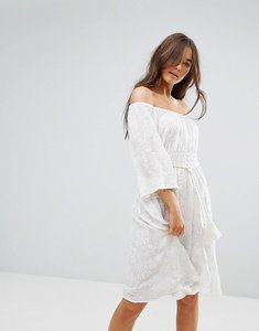 Read more about Traffic people 3 4 sleeve belted lace dress - white