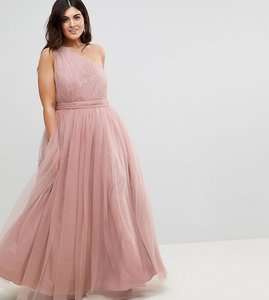 Read more about Asos curve premium tulle one shoulder maxi dress - mink