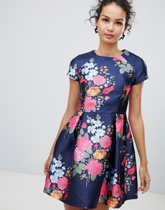 Read more about Qed london cap sleeve fit and flare floral dress - navy