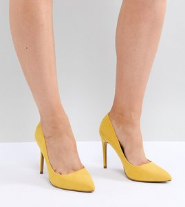 Read more about Asos design paris wide fit pointed high heels - yellow