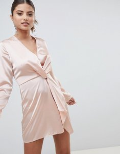 Read more about Prettylittlething satin twist front mini dress - nude