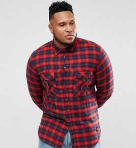 Read more about Sixth june plus flannel check shirt in red - red