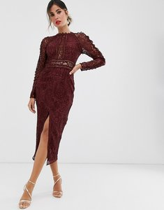 Read more about Asos design long sleeve pencil dress in lace with geo lace trims