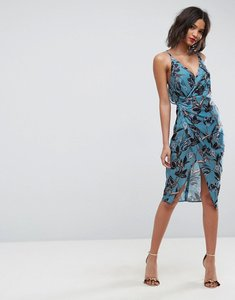 Read more about Asos strappy drape back floral midi dress - multi