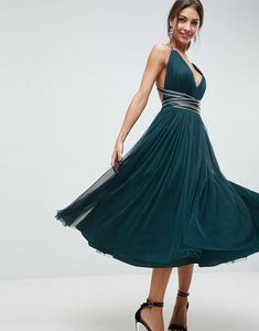 Read more about Asos premium tulle midi prom dress with embellished ribbon ties - teal