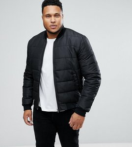 Read more about Asos plus quilted bomber jacket in black - black