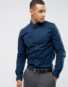 Read more about Threadbare premium stretch cotton slim fit shirt - navy