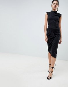 Read more about Asos design midi pencil dress with tuck detail - black