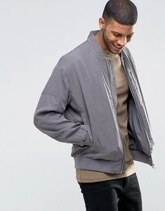 Read more about Asos tencel bomber jacket with wash in charcoal - charcoal