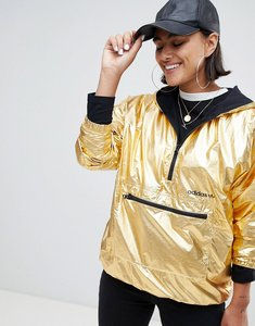 Read more about Adidas originals half zip hooded jacket in high shine gold - gold