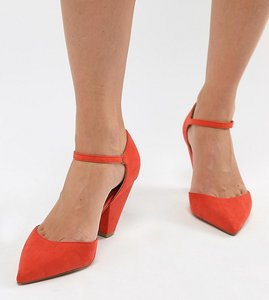 Read more about Asos design speaker wide fit pointed heels - hot tomato
