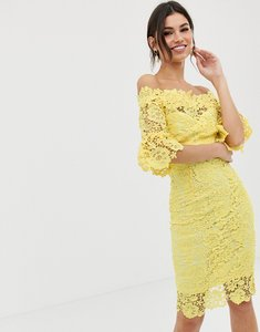 Read more about Paper dolls off shoulder crochet dress with frill sleeve - yellow
