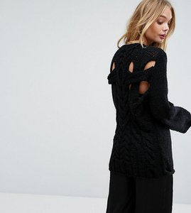 Read more about Oneon hand knitted cable back jumper - black