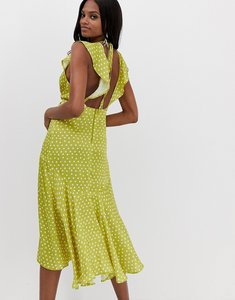 Read more about Asos design midi dress with knot front detail in satin spot print