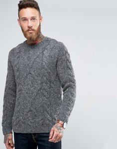 Read more about Asos wool mix hand knitted jumper with cable design - grey