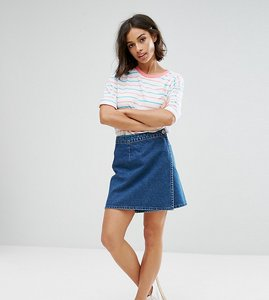 Read more about Asos petite denim wrap skirt in midwash blue - blue