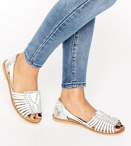 Read more about Asos joel wide fit leather woven summer shoes - silver white mix