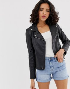 Read more about Warehouse biker jacket in faux leather in black - black