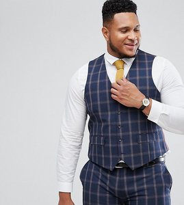 Read more about Harry brown plus slim fit blue check windowpane waistcoat - navy