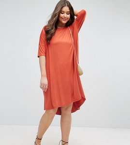 Read more about Asos curve oversize t-shirt dress with curved hem - rust
